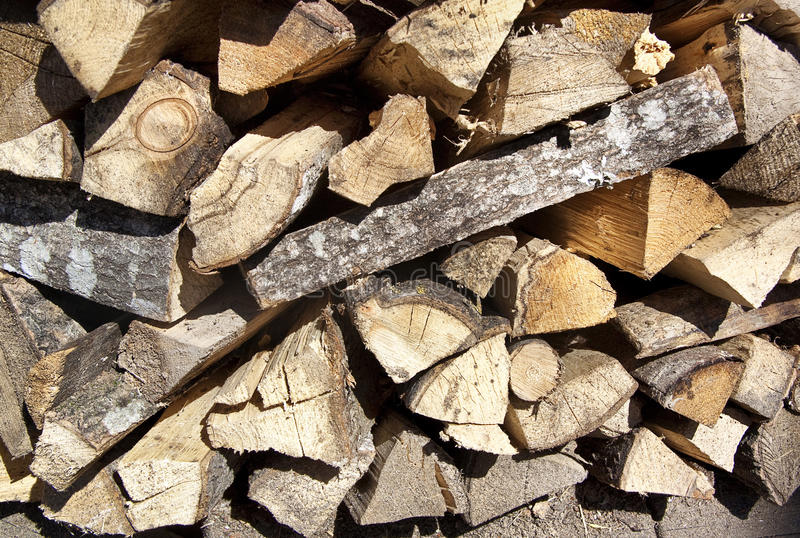 Pile of chopped firewood royalty free stock photography