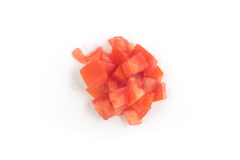 Pile of Chopped Tomatoes Top view. Pile of Chopped Tomatoes isolated on white background Top view stock image