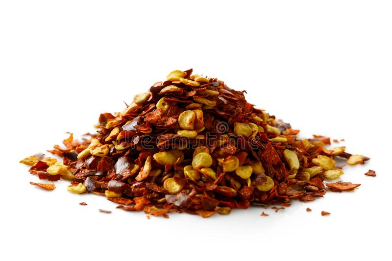 A pile of coarsely ground chilli peppers. royalty free stock images