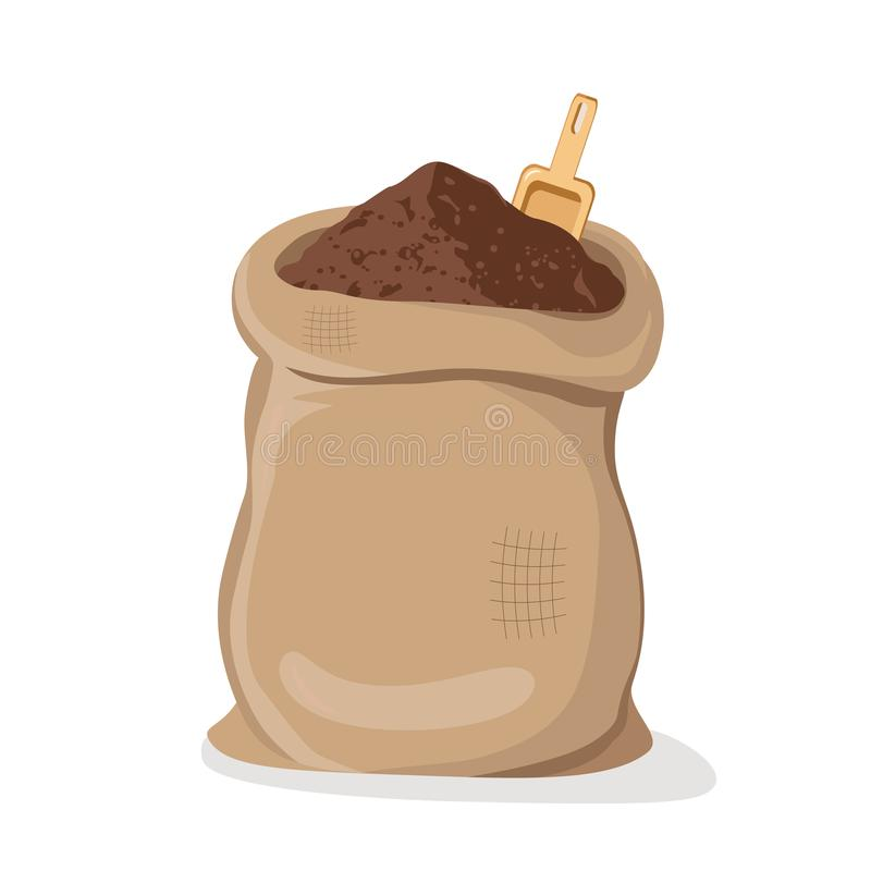 Pile Cocoa Powder in Sack royalty free illustration