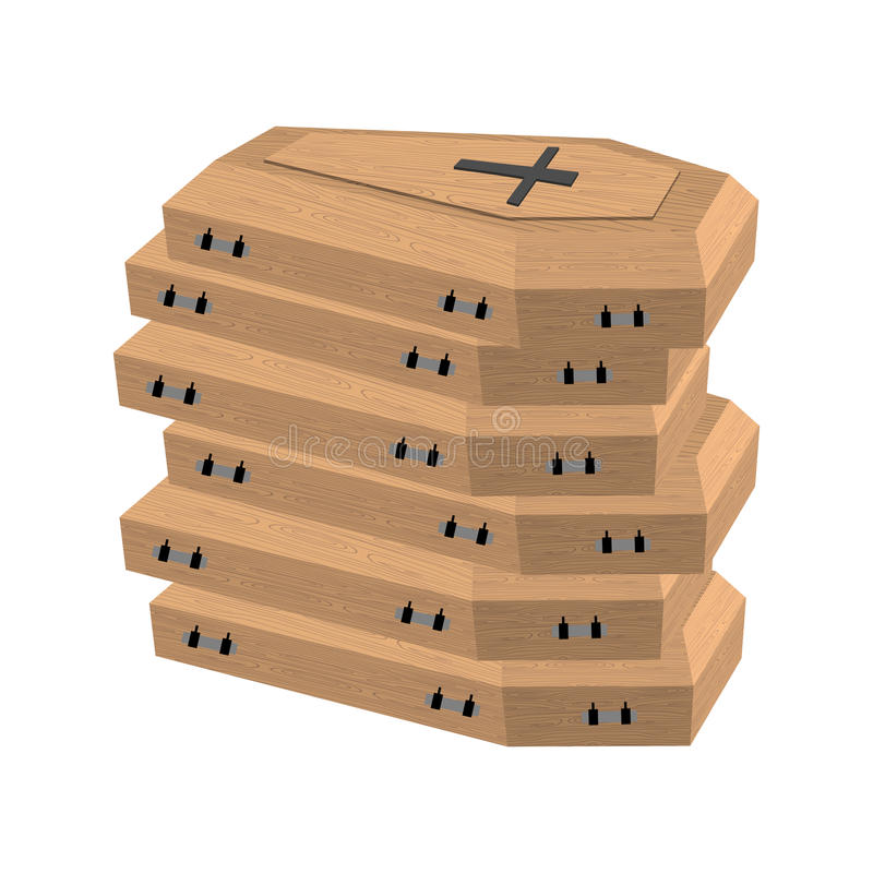 Pile of coffins. Many coffins for dead. vector illustration