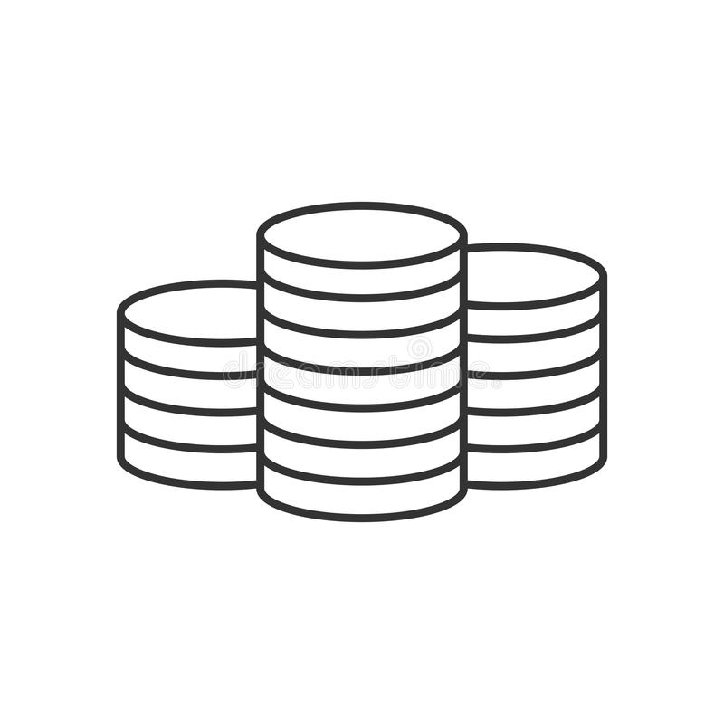 Pile of coins line icon royalty free illustration