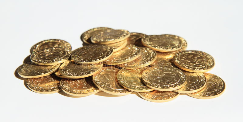 Pile of coins - Prague groschen royalty free stock images