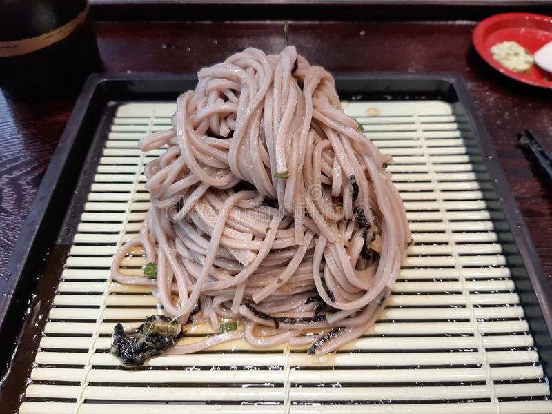 Pile of cold noodle Japanese on tray stock photo