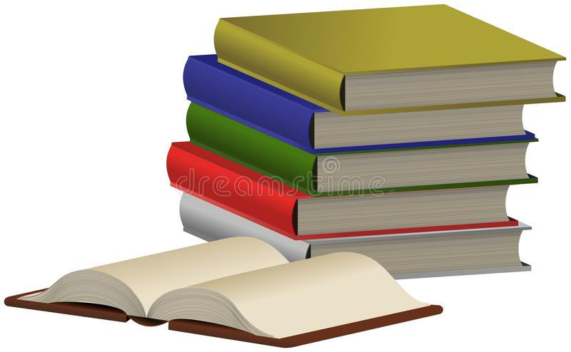 Pile of colored books and opened one. Pile of five colored books and opened one front of them stock illustration