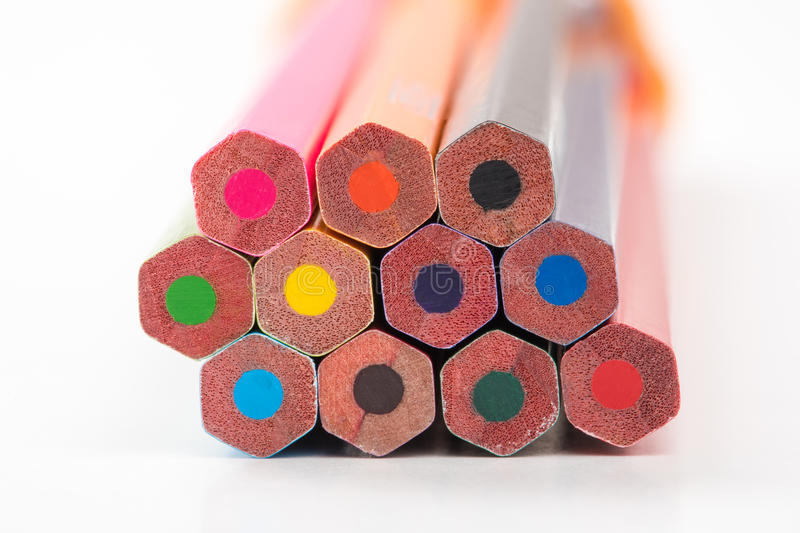 Pile of colored pencils. In natural light stock images
