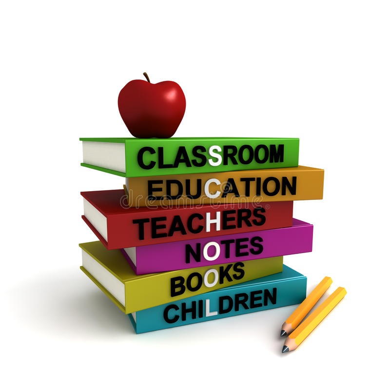 Pile of colored school books royalty free illustration