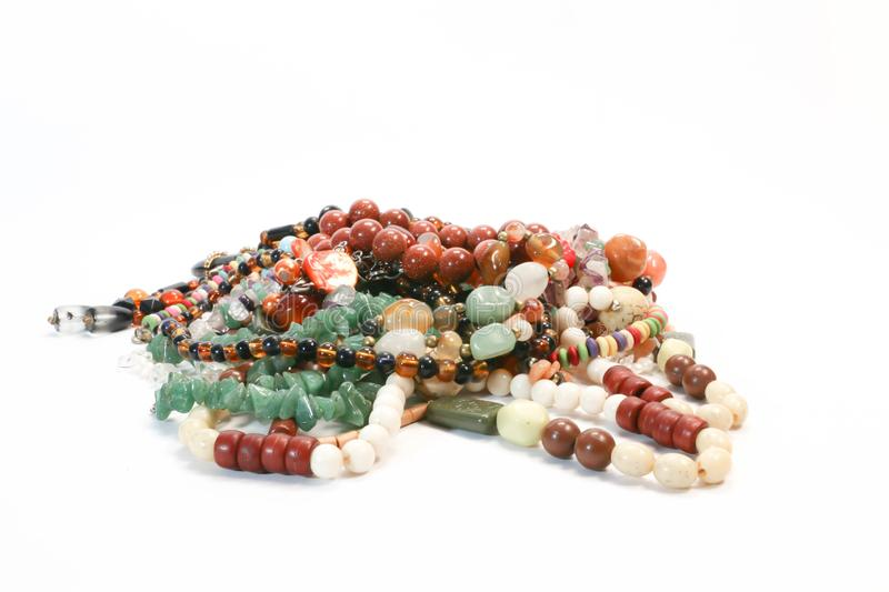 Pile of Colorful Beads Necklace Natural Stone Collection Concept Presentation. Lot of Colorful Beads Necklace Natural Stone Collection Concept Presentation stock photo