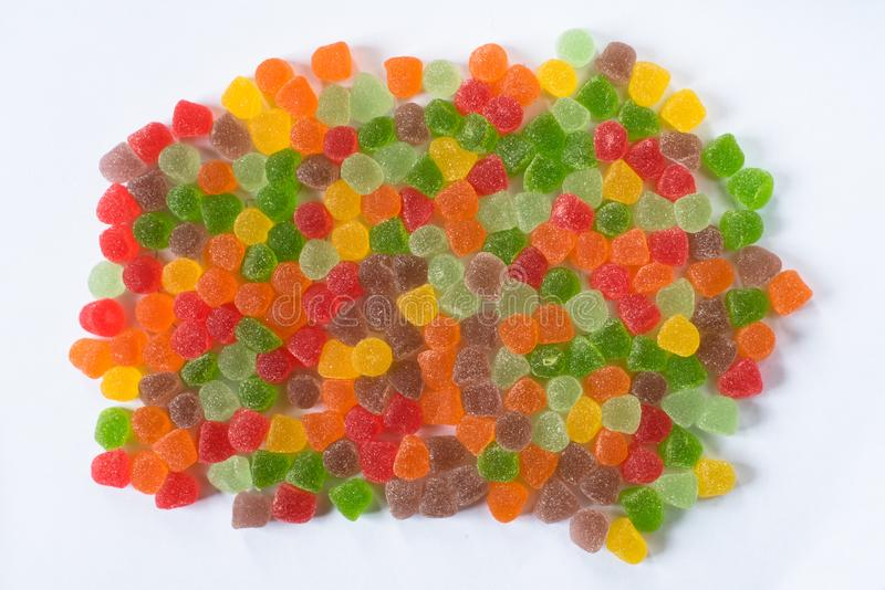 Pile of colorful gumdrops isolated on white background royalty free stock photography