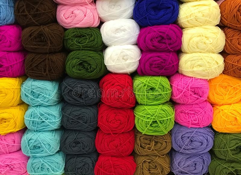 Pile of colorful knitting yarn stock image