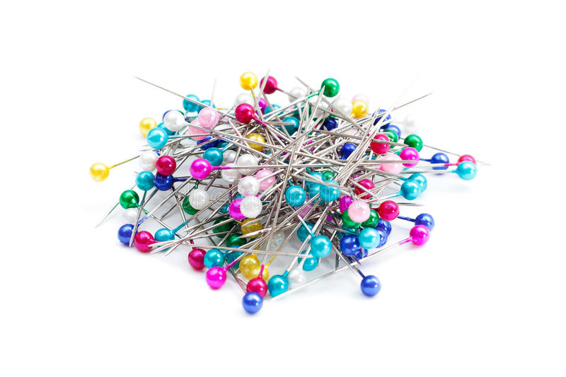 Pile of colorful pushpins stock image