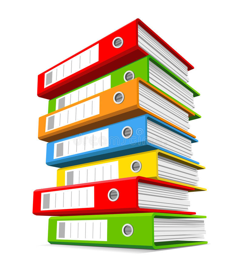 Pile of colorful ring binders vector illustration