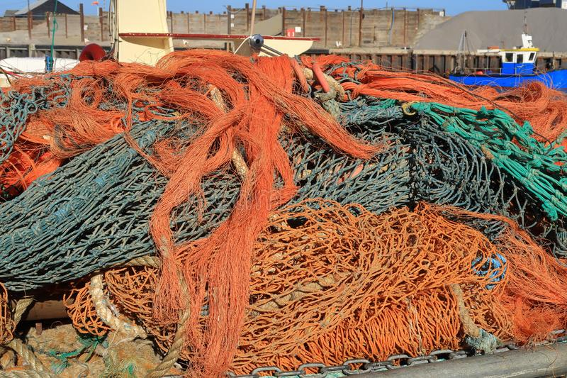A pile of coloured rope at Whitstable Harbour stock images