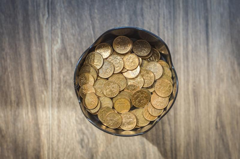 Pile of copper coins stock images