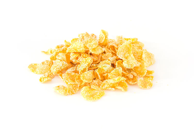 Pile of cornflakes, isolated on white background. royalty free stock photography