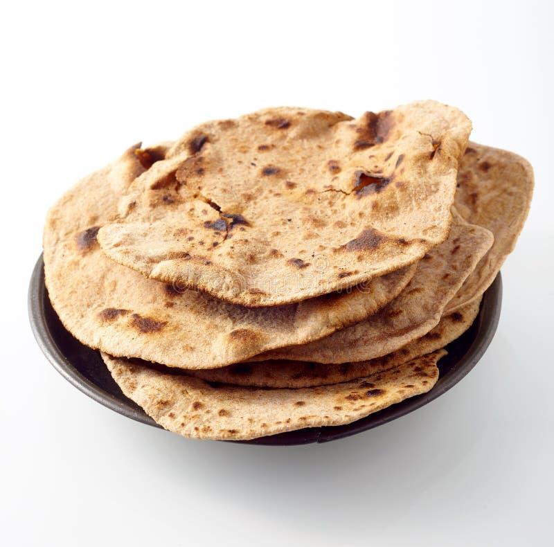 Pile courte de pain plat indien grillé de chapati images libres de droits