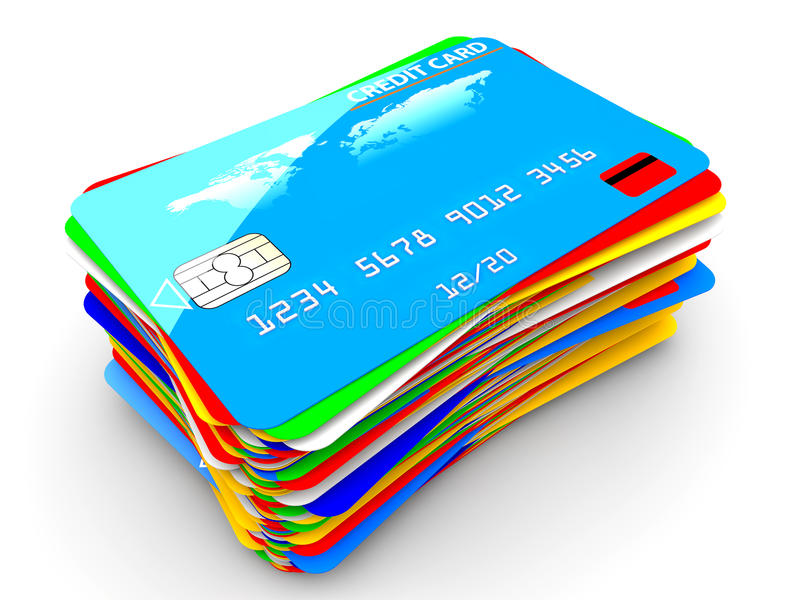 Pile of credit cards. A pile of many colorful credit cards on a white background royalty free illustration