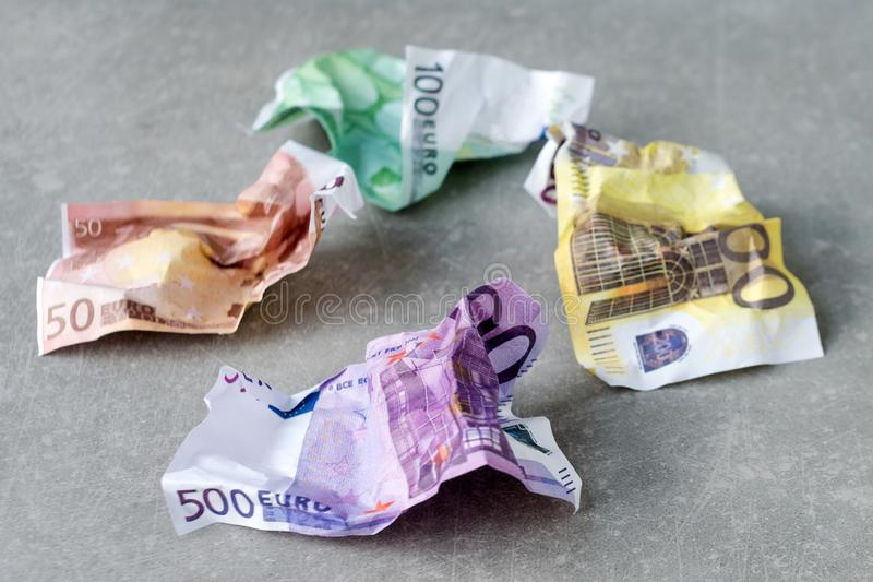 Pile of crumpled euro banknotes. Money value, international, strong currency, inflation, waste royalty free stock images