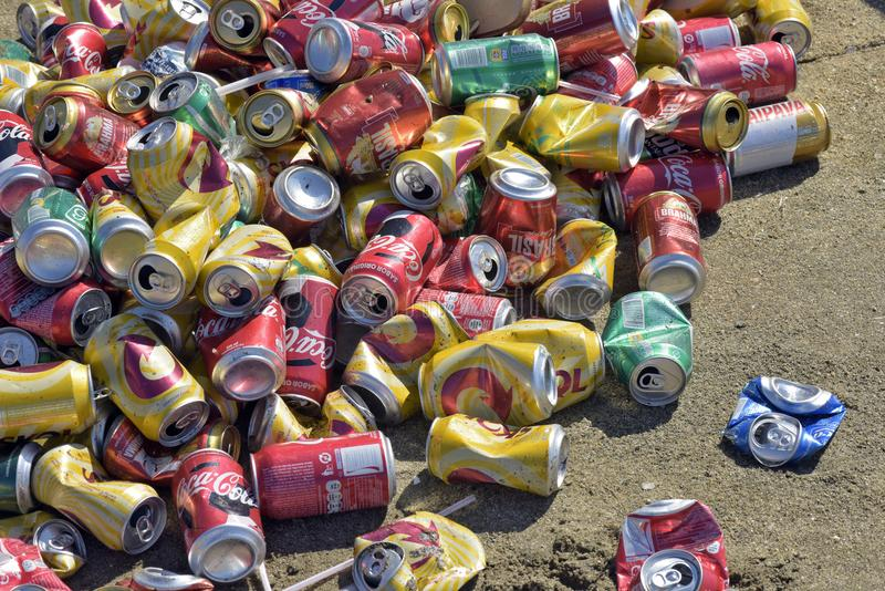 Pile of crushed cans for recycling stock images