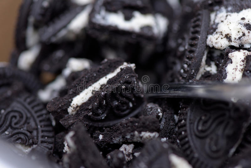 A pile of crushed Oreo cookies royalty free stock photography