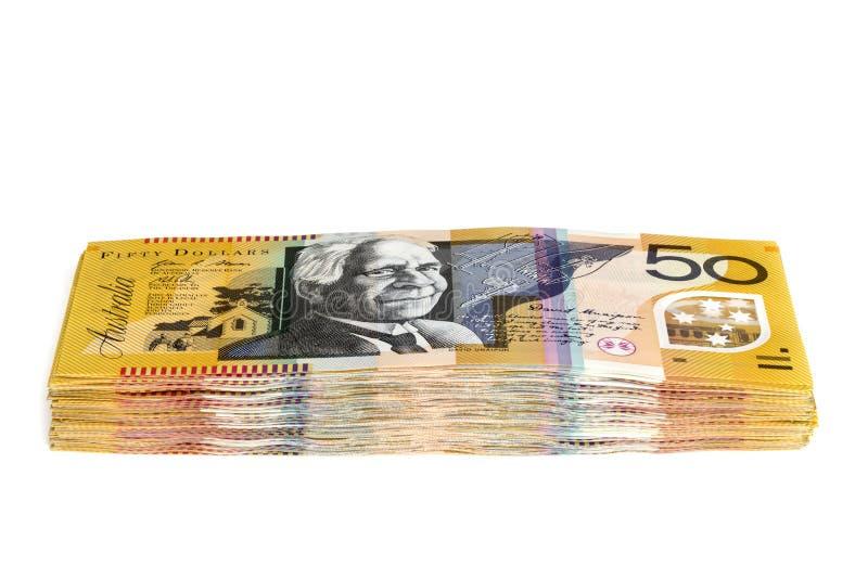 Pile d'argent australien billets de cinquante dollars d'isolement photographie stock libre de droits