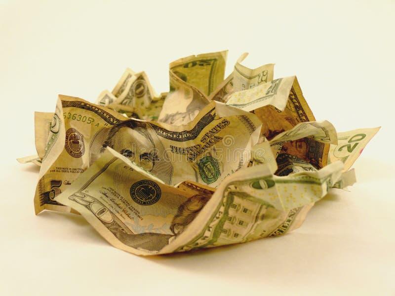Pile d'argent comptant chiffonné image stock