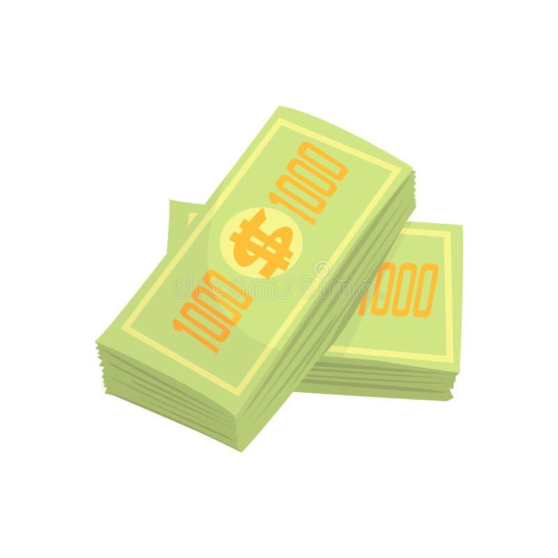 Pile d'argent de billets de banque de dollars US Illustration colorée de vecteur de bande dessinée illustration de vecteur