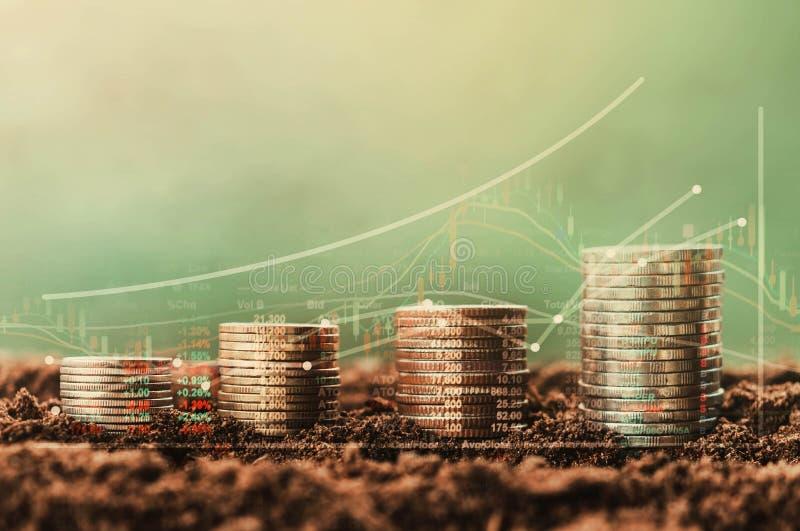 pile d'argent de croissance de pièce de monnaie et arbre, diagramme de données de concept de fina images libres de droits