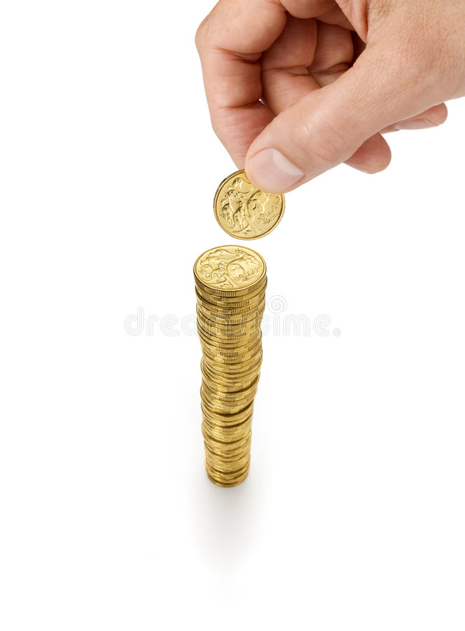 pile d'argent de pièces de monnaie photographie stock libre de droits