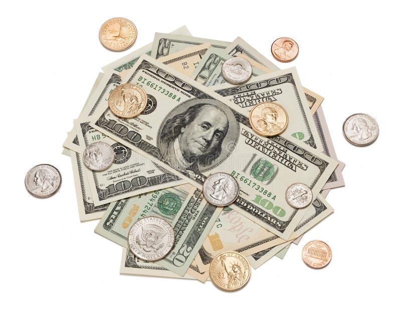 Pile d'argent des pièces de monnaie et des dollars photos libres de droits