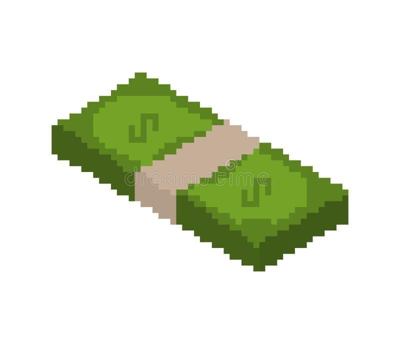 Pile d'art de pixel d'argent pile d'argent liquide pixelated Dollars d'isolat illustration libre de droits