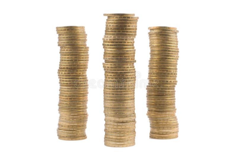Pile d'or d'isolement de pièce de monnaie photo stock