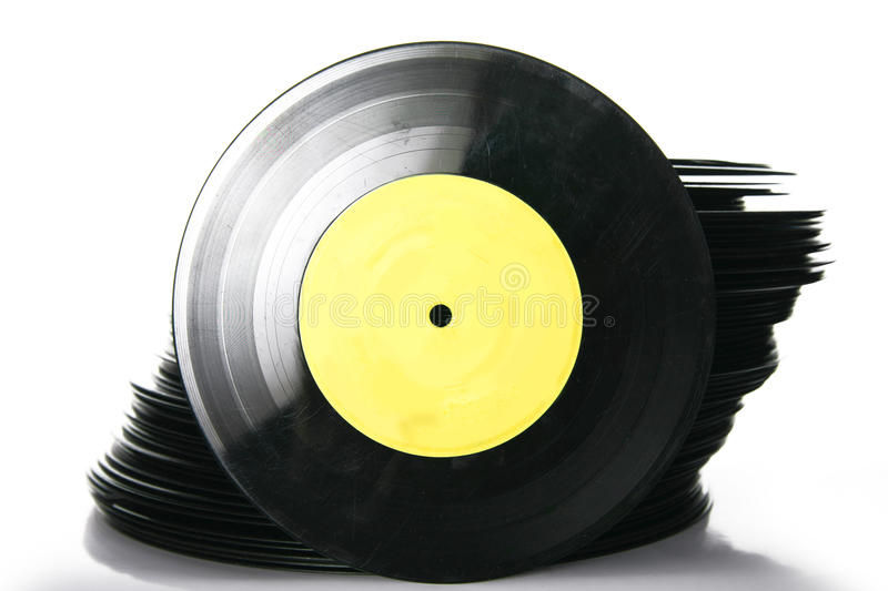 Pile d'enregistrement de vinyle photographie stock