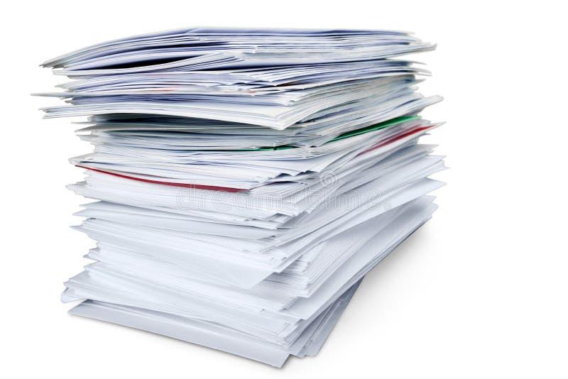 Pile d'enveloppes/de dossiers/de documents photographie stock libre de droits