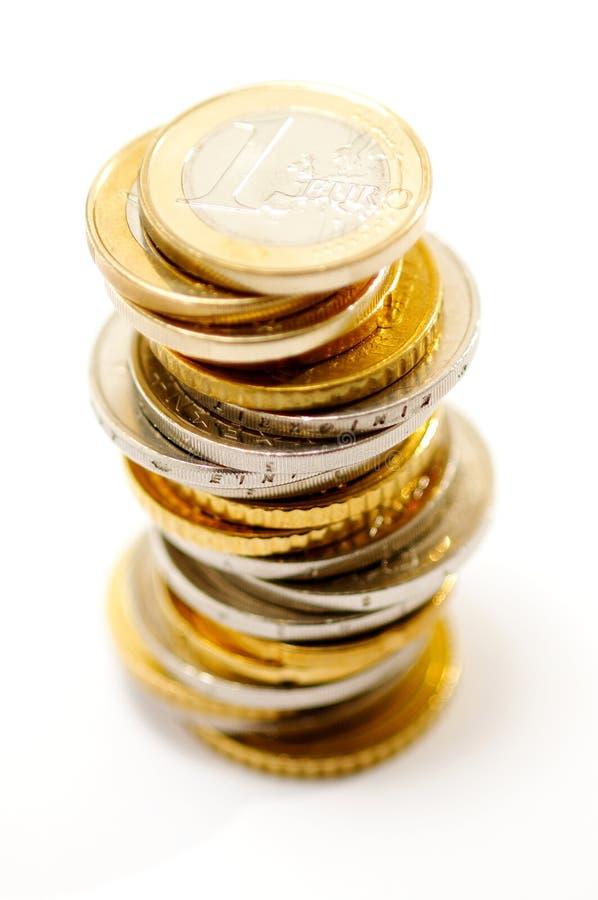 Pile D Euro Pièces De Monnaie Image libre de droits