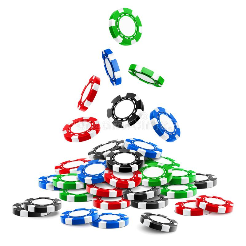 Pile of 3d gambling tokens or heap of casino chips. Pile of 3d gambling tokens or heap of falling realistic casino chips, volumetric roulette and blackjack royalty free illustration
