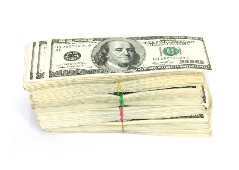 Pile de $100 factures image stock