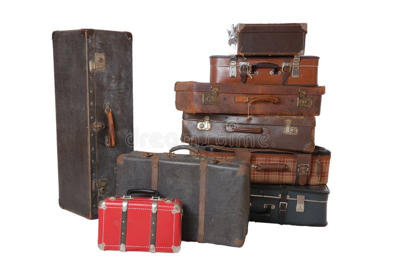 Pile de bagage de cru photo stock