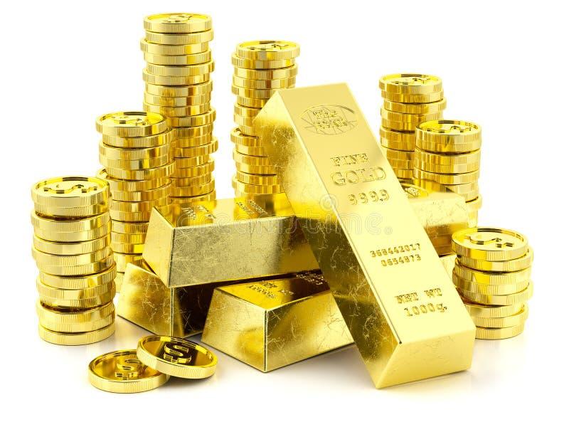 Pile de barres et de pièces de monnaie d'or illustration libre de droits