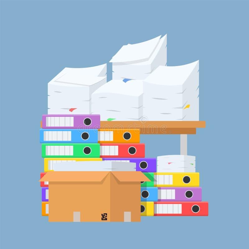 Pile de beaucoup de dossiers de document de couleur, boîte en papier et en carton sur la table de bureau pour la conception, illu illustration stock