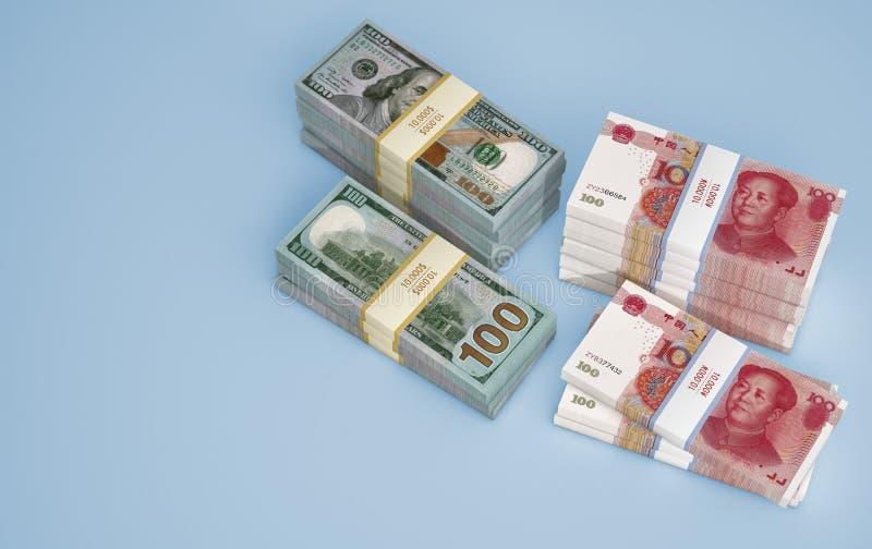 Pile de billets chinois de 100 yuans et de 100 dollars illustration stock