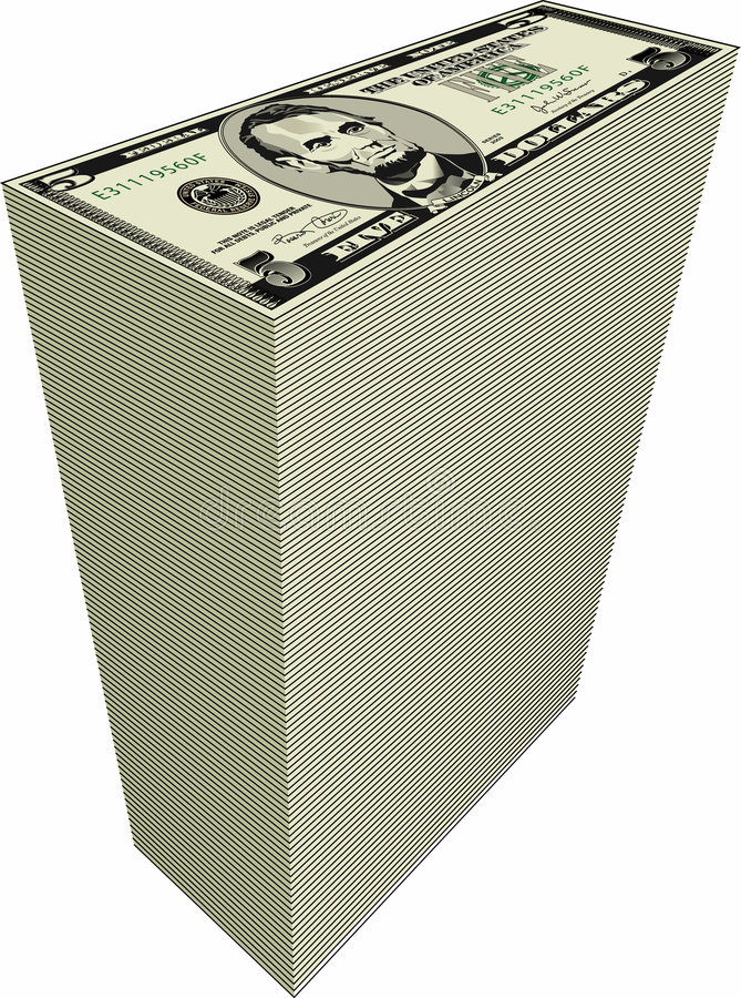 Pile de billets d'un dollar illustration stock
