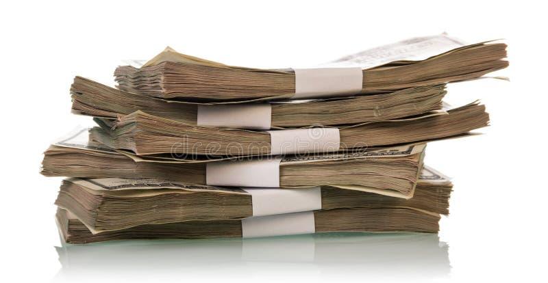 Pile de billets d'un dollar images stock