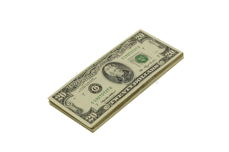 Pile de billets de vingt dollars photographie stock