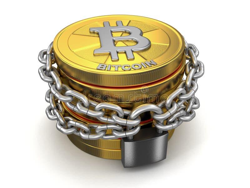 Pile de bitcoin et de chaîne d'or illustration stock