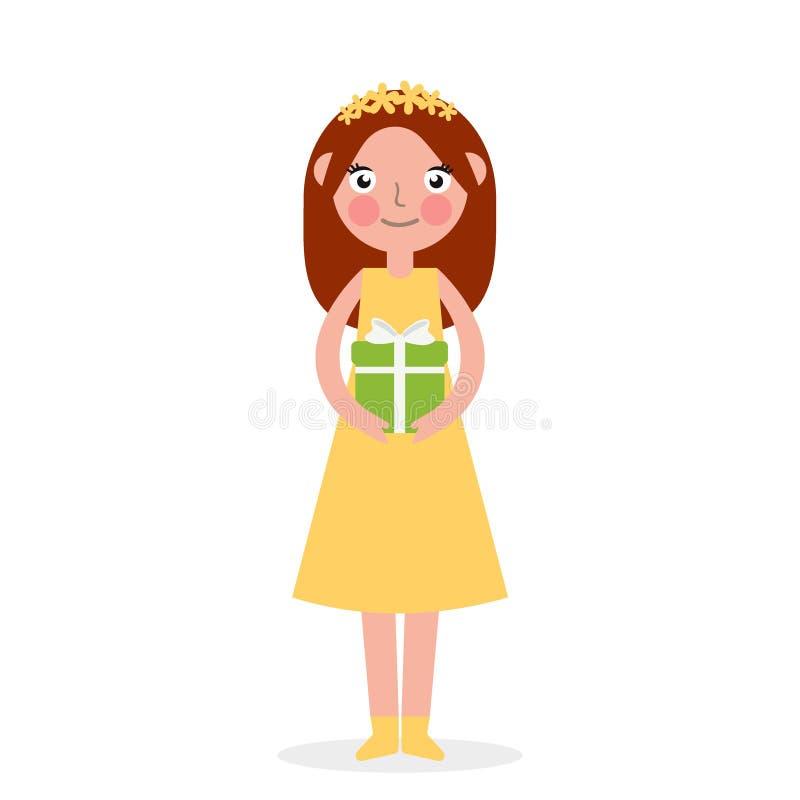 Pile de boîte-cadeau enveloppée par participation mignonne enthousiaste d'enfant de petite fille décorée de l'arc de ruban Célébr illustration de vecteur