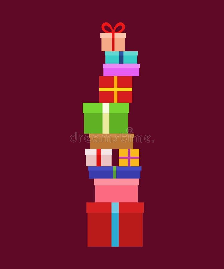 Pile de boîtes de Noël illustration libre de droits