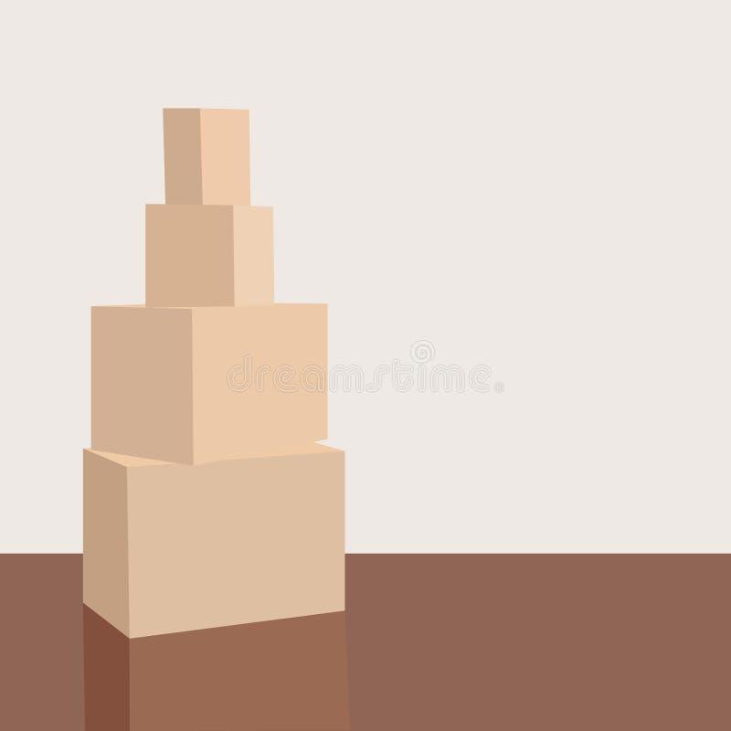 Pile de boîtes en carton dans une salle vide Pile des boîtes de carton sur le plancher dans un appartement vide Empilez du déplac illustration de vecteur