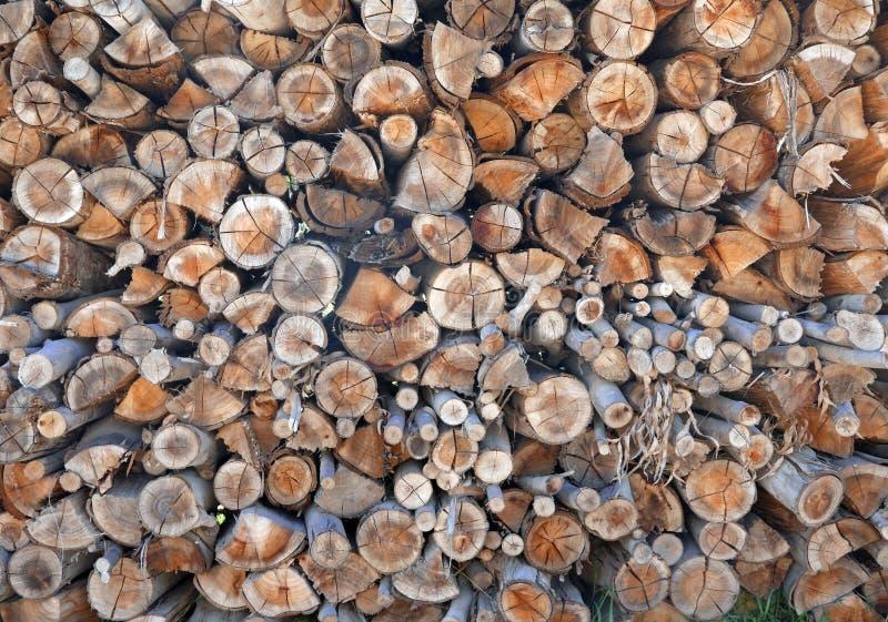 Pile de bois de chauffage cutted photos stock