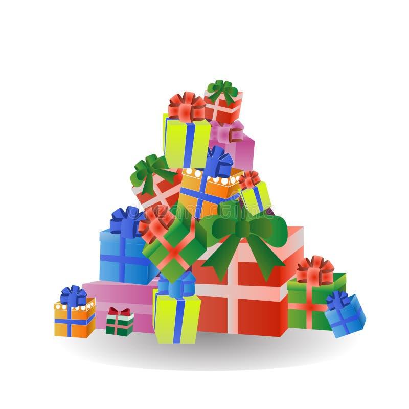 Pile de cadeau coloré et de boîtes actuelles d'isolement sur le fond blanc illustration libre de droits